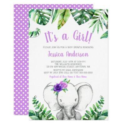 Jungle Elephant Girl Purple Baby Shower Invitation