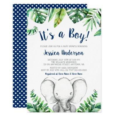 Jungle Elephant Navy Boy Baby Shower Invitations