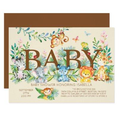 Jungle Gender Neutral Baby shower Invitations