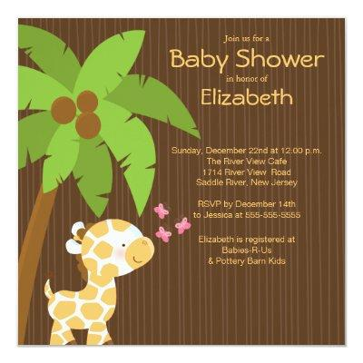 Jungle Giraffe Neutral Baby Shower Invitations