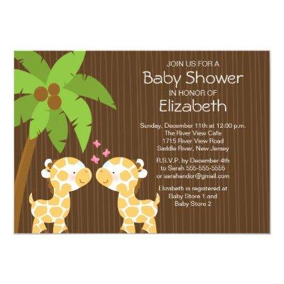 Jungle Giraffe Neutral Twin Baby Shower Invitation