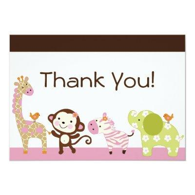 Jungle Jill / Cute Animals Thank You Invitations