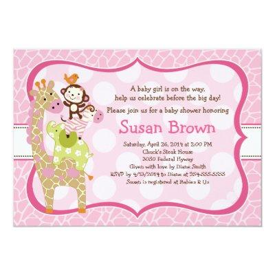 Jungle Jill /Girl Animals Baby Shower Invitations