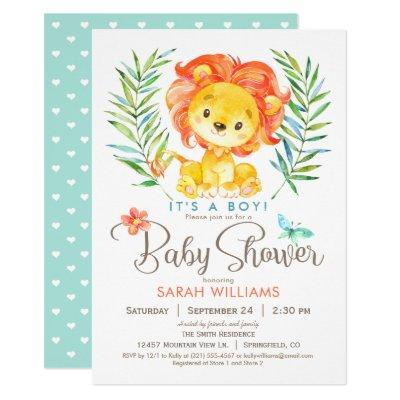 Jungle Lion Baby Shower, Boy or Girl Invitation