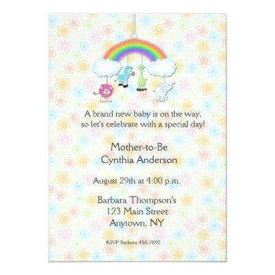 Jungle Mobile Floral Baby Shower Invitation