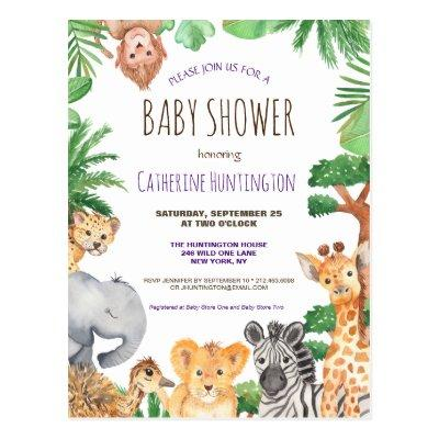 Jungle Safari Animal Baby Shower Books for Baby Postcard