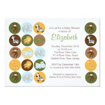 Jungle Safari Animal Neutral Baby Shower Invitation
