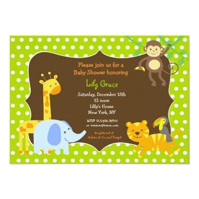 Jungle Safari Animals Baby Shower invitations