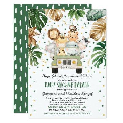Jungle Safari Animals Drive Through Baby Shower Invitation