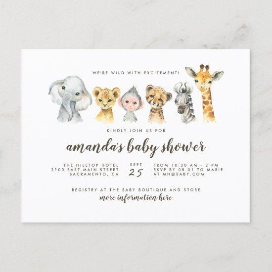 Jungle Safari Animals Gender Neutral Baby Shower Invitation Postcard