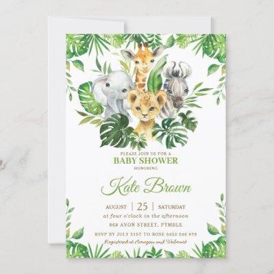 Jungle Safari Animals Greenery Boy Baby Shower In Invitation