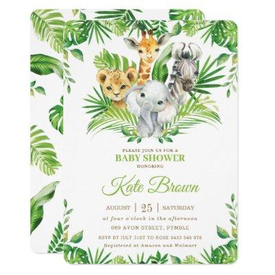 Jungle Safari Animals Greenery Nuetral Baby Shower Invitation