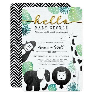 Jungle Safari Baby Shower Invitations