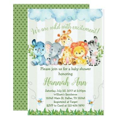 Jungle Safari Baby Shower Invitation Invite