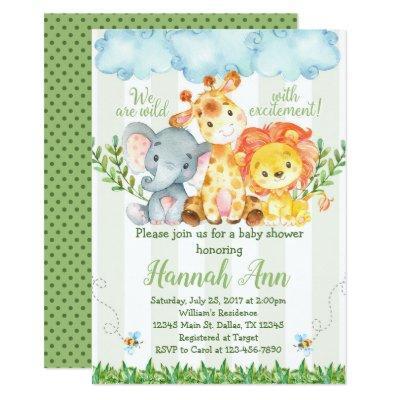 Jungle Safari Baby Shower Invitation Invite