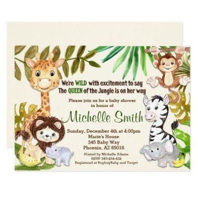 Jungle Safari Girl Queen of Jungle Baby Shower Invitation