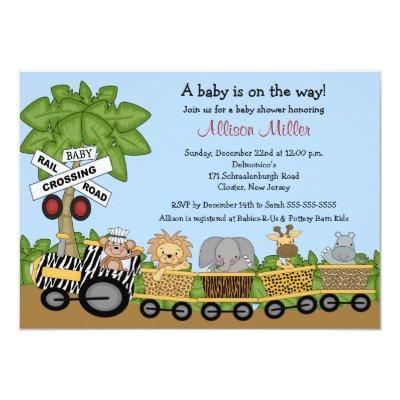Jungle Safari Train Neutral Baby Shower Invitations