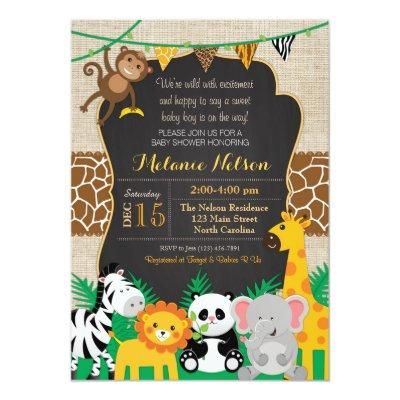 Jungle Safari Wild Baby Shower Invitations