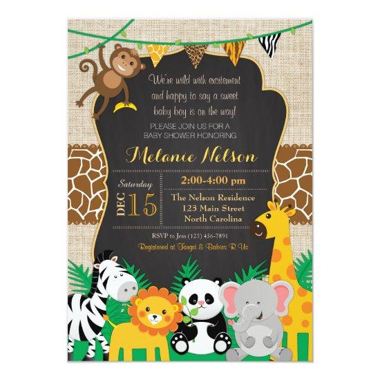 Jungle Safari Wild Baby Shower Invitations Baby Shower Invitations