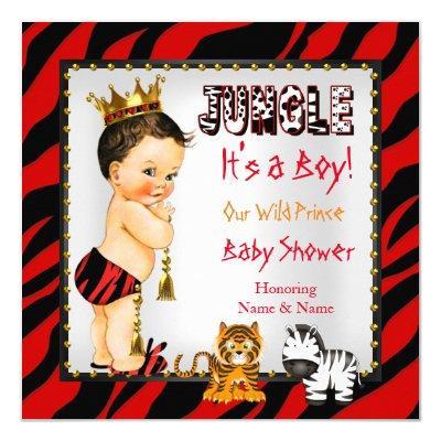 Jungle Wild Prince Baby Shower Red Brunette Invitation
