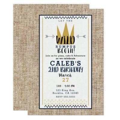 King Wild Thing Gold Crown Burlap Birthday Party Invitations