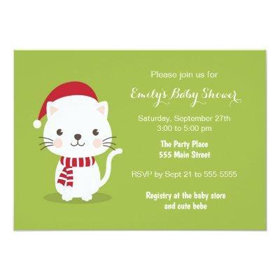 Kitten christmas baby shower invitations unisex