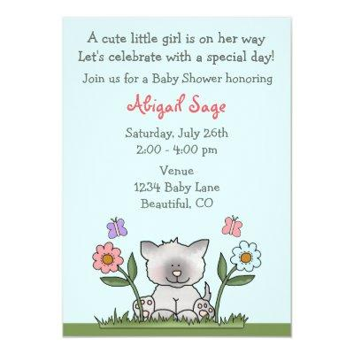 Kitten, Flowers and Butterflies Invite