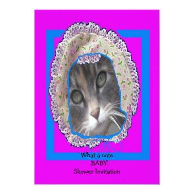 Kitten wearing bonnet baby shower invitation
