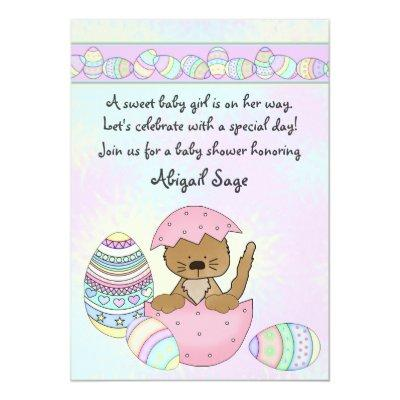 Kitten with Easter Eggs Invitations