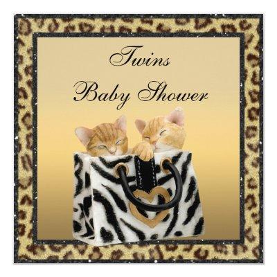 Kittens Leopard Print Neutral Twins Invitations