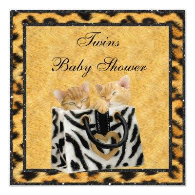 Kittens Leopard Print Neutral Twins Baby Shower Invitations