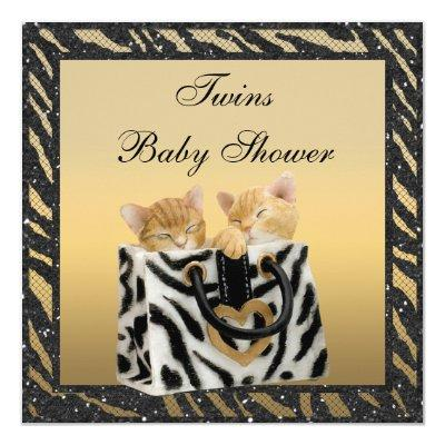 Kittens Twins Zebra Print Neutral Gold Invitations