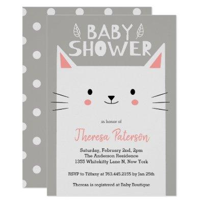 Kitty Cat Baby Shower Gender Neutral Invitation