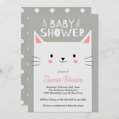Kitty Cat Baby Shower Gender Neutral Invitation