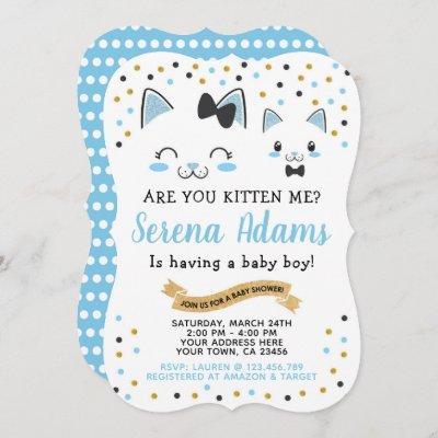 Kitty Cat Boys Baby Shower Invitation
