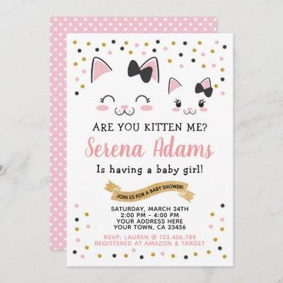 Kitty Cat Girls Baby Shower Invitation