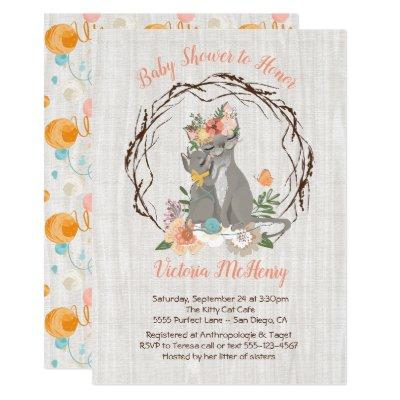 Kitty Cat kitten and Momma Baby shower Invitations
