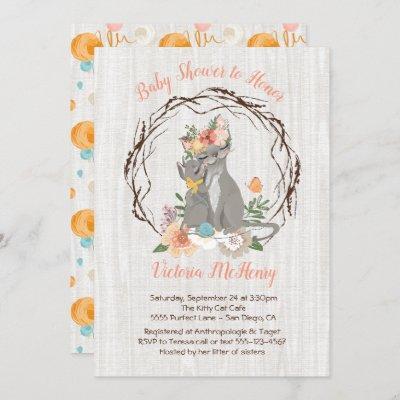 Kitty Cat kitten and Momma Baby shower Invitations