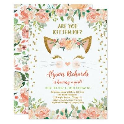 Kitty cat kitten peach cream girl baby shower invitation