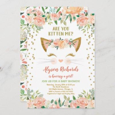 Kitty cat kitten peach cream girl baby shower invitation