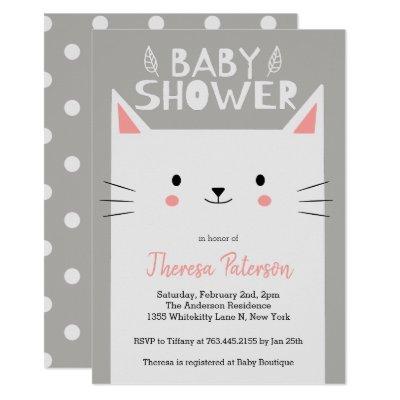 Kitty Cat White Baby Shower Invitation