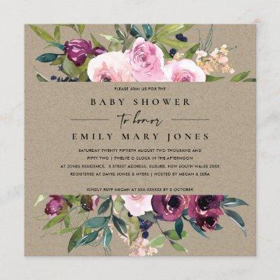 KRAFT BLUSH BURGUNDY FLORAL BUNCH BABY SHOWER INVITATION