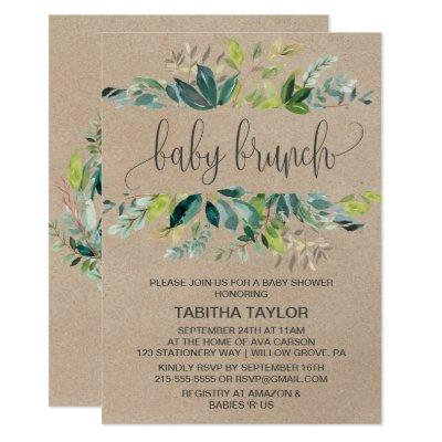 Kraft Foliage Baby Brunch Invitations