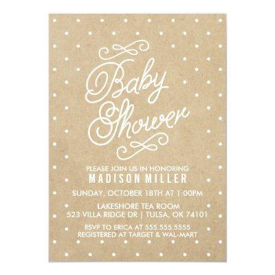 Kraft Paper Polka Dots Baby Shower Invitation