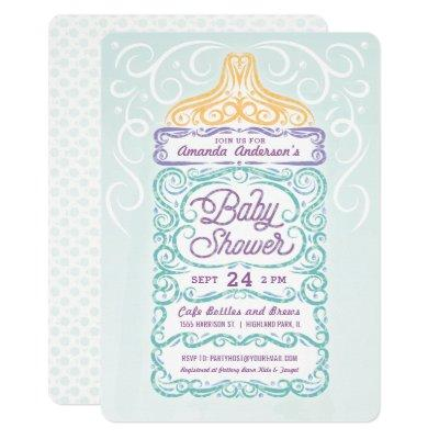 Lacy Baby Bottle Gender Neutral Shower Invitations