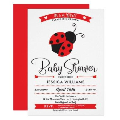Ladybug Baby Shower Girl Invitation