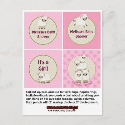 LAMB Girl Baby Shower Cupcake Topper Sweet Dreams Invitation Postcard