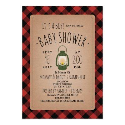 Lantern Lumberjack Plaid Baby Shower Invitation