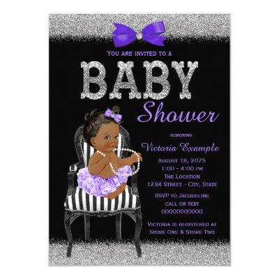 Lavend Purple Black Silver Ethnic Girl Baby Shower Invitation