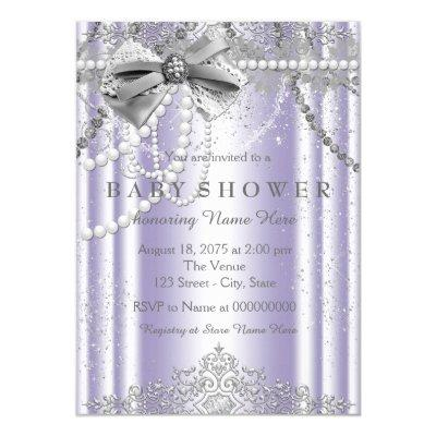 Lavender and Gray Girly Baby Shower Invitation